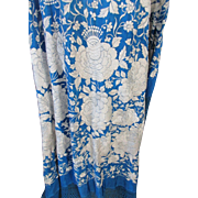 Vintage Embroidered Piano Shawl Blue and White