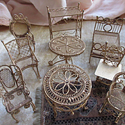 Antique Group of Doll House Furniture Wire Doll House Furniture