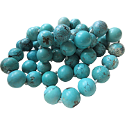 Vintage 31'' Turquoise Colored Beaded Necklace