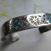 Vintage Sterling Inlay Cuff Bracelet