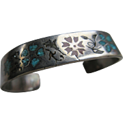 Vintage Sterling Inlay Cuff Bracelet