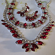 Vintage Signed B David Red Rhinestone Necklace  Holiday Jewelry