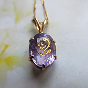 Antique 10K Rose Of Sharon Pendant on 14K Chain Necklace