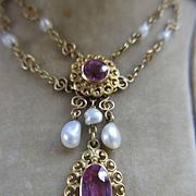 Antique Edwardian 10K Pink Tourmaline River Pearl Necklace