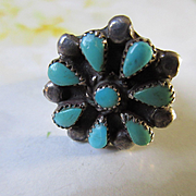 Vintage Native American Sterling Petite Point Ring