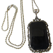 Vintage Deco Sterling Onyx Marcasite Pendant on Sterling Chain