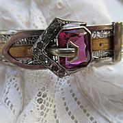 Vintage Deco 20s 30s Rhodium Plated Buckle Bracelet