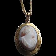 Older Vintage Angel Skin Coral Cameo Necklace