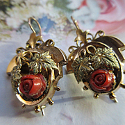 Antique Victorian Coral Rose Pierced Earrings in Gold Fill