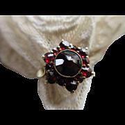 Antique 900 Silver Gilt European Bohemian Garnet Ring