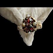 Victorian Bohemian Garnet Seed Pearl Ring
