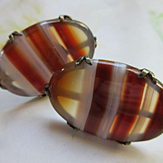 Vintage Red Banded Agate Cuff Links