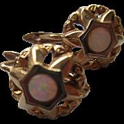 Vintage 14K Opal Pierced Earrings