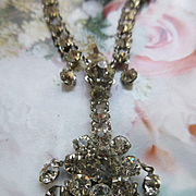 Vintage White Gold Fill Paste Necklace circa 1940