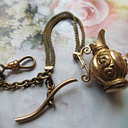 Victorian Antique Watch Chain Urn Fob in Gold Fill
