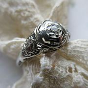 Vintage Deco 14K White Gold Filigree Diamond Ring