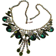 Vintage Unsigned Costume Green and Aurora Borealis Crystal Necklace