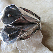 Vintage Sterling Calla Lily Cuff Bracelet