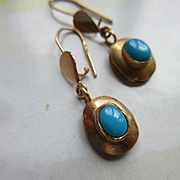 Vintage 14K Persian Turquoise Pierced Earrings Foreign Hallmarks