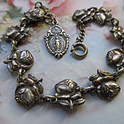 Older Vintage Roses For Mary Saints Religious Bracelet Miraculous Medal