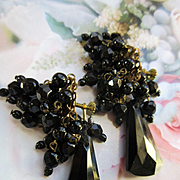 Vintage Black Glass German Screw Back Earrings