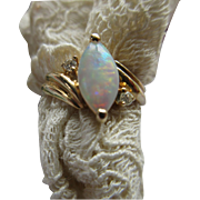 Vintage 14 K Marquise Opal and Diamond Ring