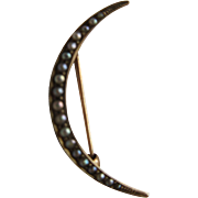 Antique 10K Seed Pearl Crescent Moon Pin