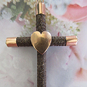 Antique Hair Work Cross Heart Embellishment
