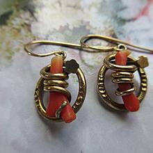 Antique Coral Branch Pierced earrings in Gold Fill