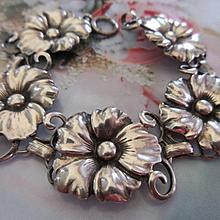 Vintage Sterling Circa 1940 Flowers Bracelet