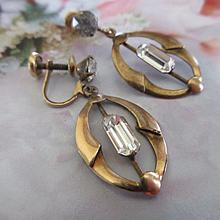 Vintage Deco Screw Back Drop Earrings Gold Fill