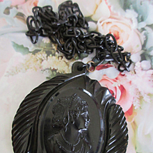 Vintage Black Celluloid Cameo Necklace Circa 1930