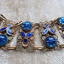 Vintage 30s Czech Bracelet Art Glass Star Sapphires