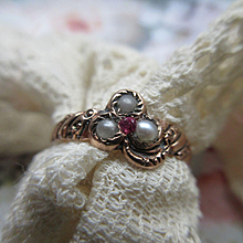 Antique 10K Seed Pearl Clover Ring