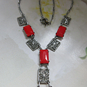 Vintage Deco Filigree Red Glass Necklace