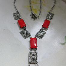 Vintage Deco Filigree Red Glass Necklace
