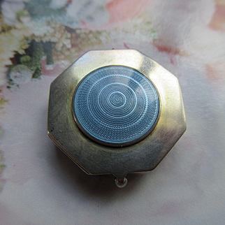 Deco Sterling Guilloche Enameled Chatelaine Compact Locket