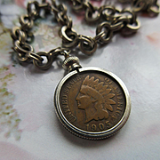 Antique 1905 Indian Head Penny Watch Fob on Watch Chain