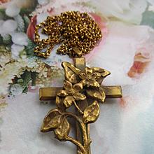 Antique Art Nouveau Cross Necklace
