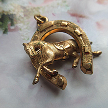 Antique Equestrian Watch Fob in Gold Fill