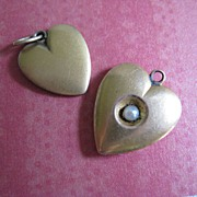 Two 10k Yellow Gold Antique Heart Charms