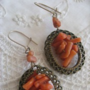 Victorian Coral Branch Pierced Earrings