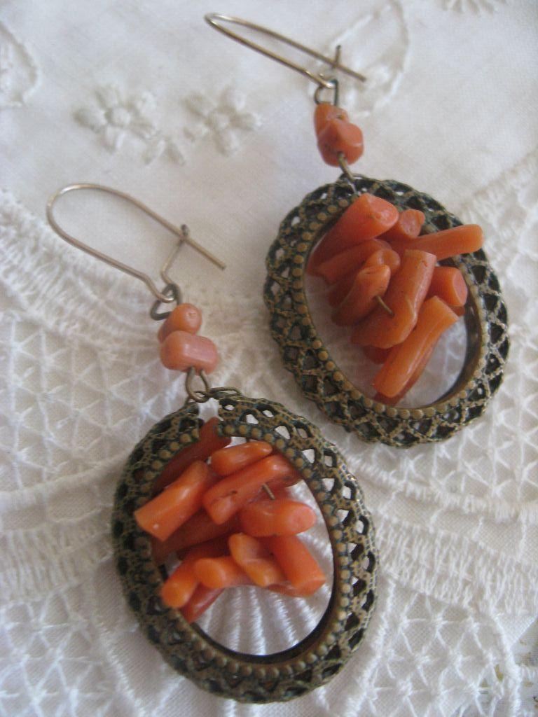 Victorian Coral Branch Pierced Earrings