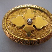 Beautiful Victorian Watch Pin in Yellow Gold Fill