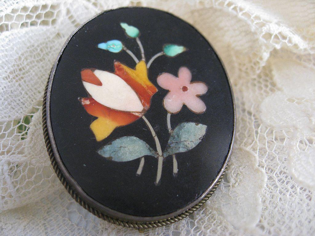 Victorian Pietra Dura Pin