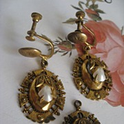 1930's Victorian Revival Screw Backs & Charm