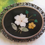 Lovely 800 Silver Pietra Dura Pin