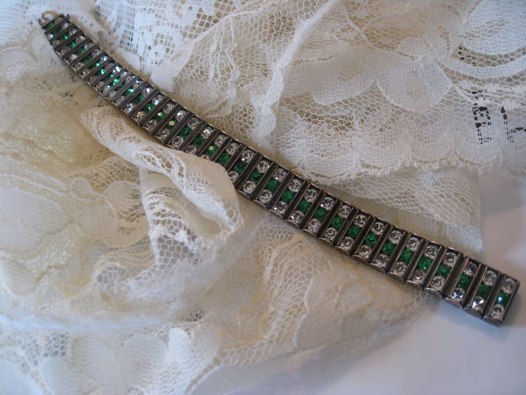 Beautiful Art Deco Sterling Paste Bracelet