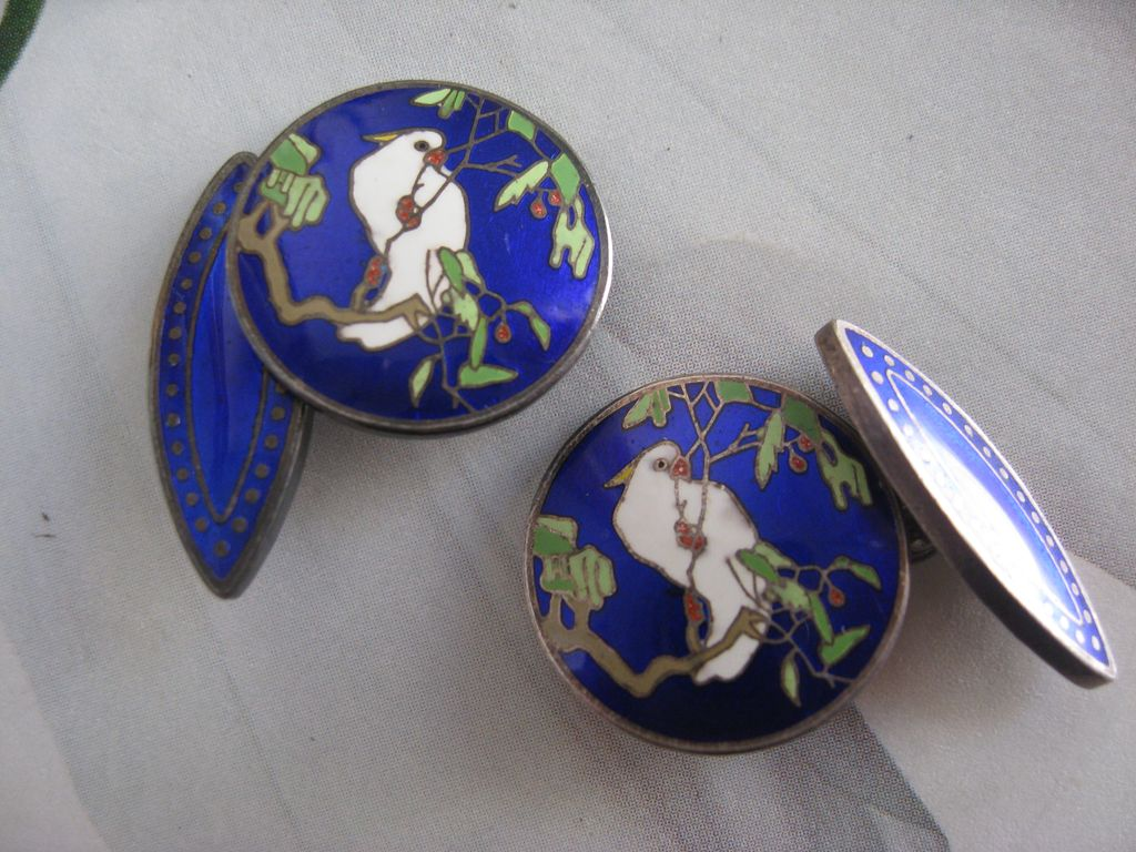 Enameled Silver Cufflinks  Art Deco    Cockatoo