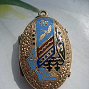 Victorian Enameled Locket Antique Picture Locket
